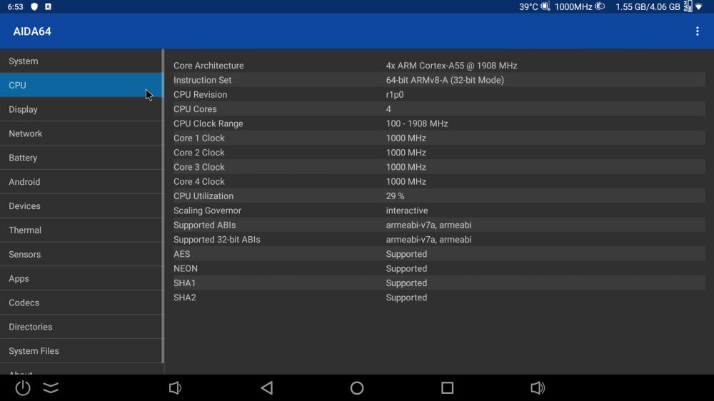 Ugoos X3 Pro CPU information